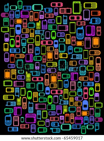 A lot of Cellphones and Smartphones in black background