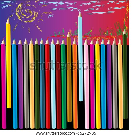 a lot of colored pencils, children\'s crayons, picture of sun and clouds and grass, pencil drawing