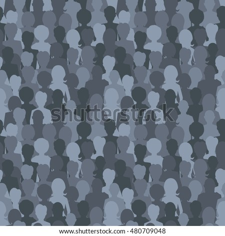 A lot of dark silhouettes, crowd of people seamless pattern