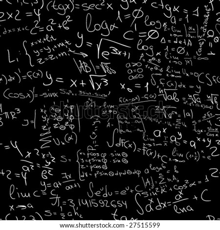 a lot of easy editable maths formulas in vector - seamless pattern