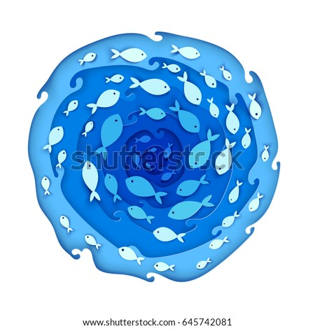 A lot of fish swim in sea on top view. Circle paper cut deep style idea of ocean or river. Vector illustration.