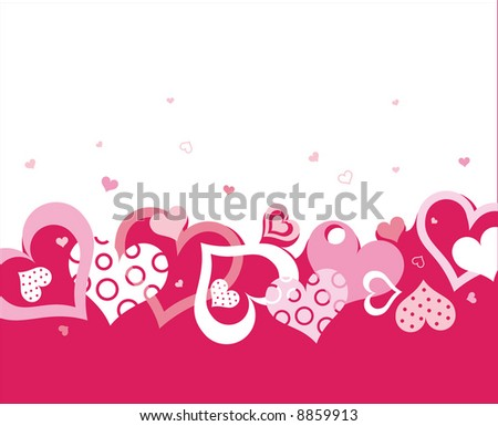 a lot of hearts - stock vector