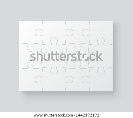 A lot of piece flat puzzle presentation. Jigsaw grid puzzle 12 pieces. Realistic mockup with shadow - stock vector.