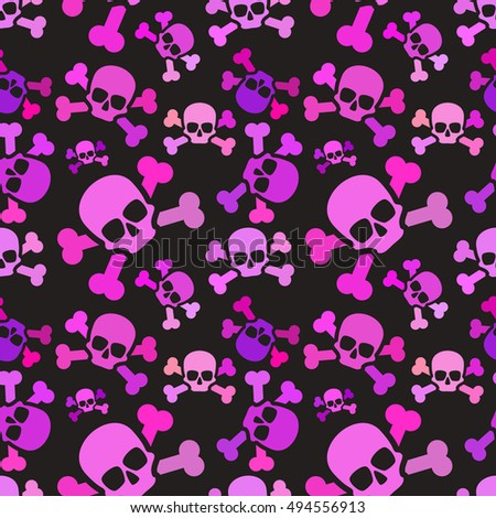 a lot of pink skulls on dark