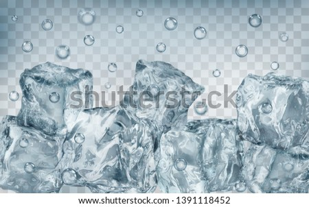 A lot of translucent gray ice cubes and air bubbles under water on transparent background. Transparency only in vector format