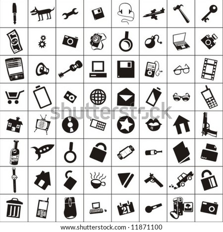 a lot of various objects and icons