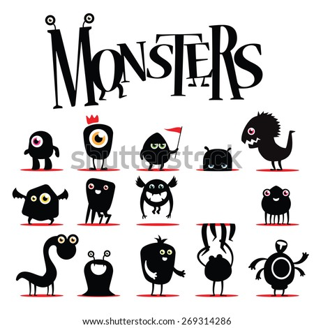 a lot of vector black monsters