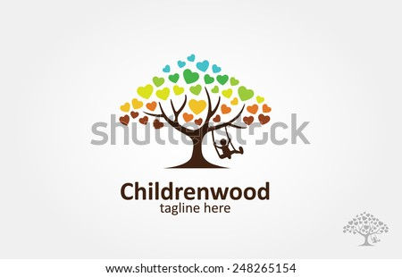 A love tree with a child play the swing under the tree, this logo symbolize a protection, peace,tranquility, growth, and care or concern to development