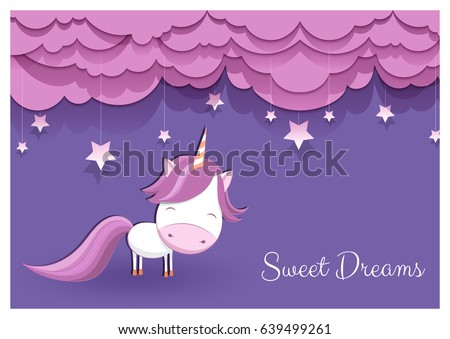 a lovely greeting card with a hand drawn unicorn among stars and fluffy pink clouds on violet background, and an example text message