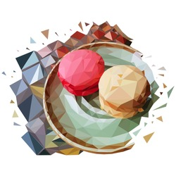 A low poly saucer of macarons cakes on a mosaic table. French dessert made from polygons on plate. polygonal graphics. vector illustration