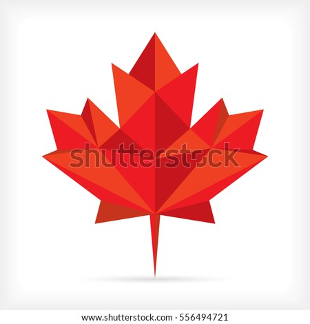 A low polygon style maple leaf in vector format. This stylish symbol is an iconic representation of Canada.