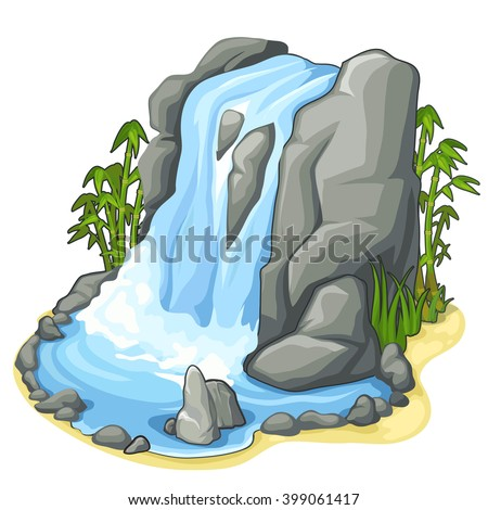 a low tropical waterfall and
