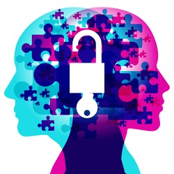 """A Male and Female side silhouette profile overlaid with various blending semi-transparent jigsaw puzzle shapes. Overlaid in the centre is a solid white """"Open padlock with a key"""" icon."""