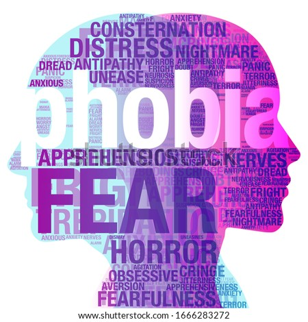 """A male and female side silhouette profile overlaid with various semi-transparent words based on the topic / Subject """"Phobia"""". Сток-фото ©"""