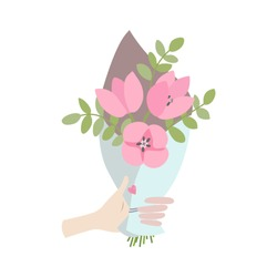 A Male hand gives spring bouquet of flowers. Valentines day, Wedding bouquet flowers, birthday bouquet flowers. Vector illustration in flat design