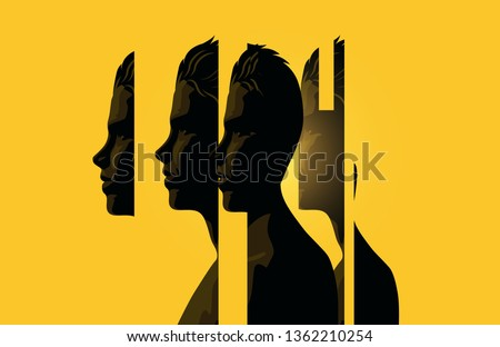 A male head split up into sections. Human mind and psychology vector illustration.