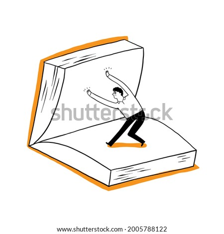 A man, a student or a businessman is flipping over a large book. Vector Illustration Hand drawing doodle style Photo stock ©