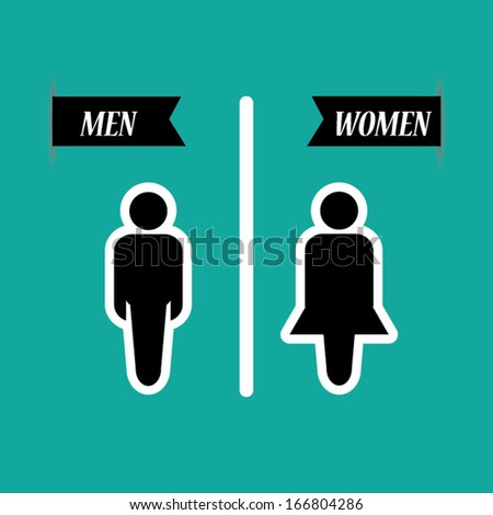 a man and a lady toilet sign on green background   vector. A Man And A Lady Toilet Sign On Green Background   Vector