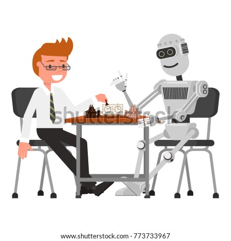 a man and a robot play chess