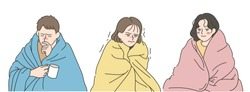 A man and a woman are covering the blanket and shivering in the cold. hand drawn style vector design illustrations.
