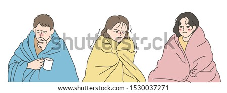 A man and a woman are covering the blanket and shivering in the cold. hand drawn style vector design illustrations.  Foto stock ©