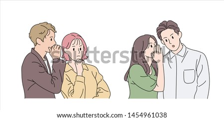 A man and a woman are covering their mouth with their hands and whispering in the other person's ear. hand drawn style vector design illustrations.  Photo stock ©