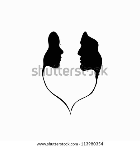 A man and a woman. Black and white silhouette of lovers. Vector Graphics.