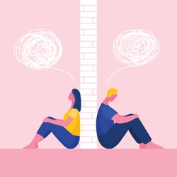 A man and a woman in a quarrel.The couple sit back to back.Problems in relationships, conflicts.Husband and wife at odds.Wall between them.Flat vector illustration
