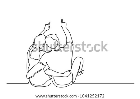A man and a woman sit in an embrace and point a finger up. One line drawing isolated vector object by hand on a white background.