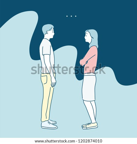 A man and a woman stand facing each other and look at each other coldly. hand drawn style vector design illustrations.
