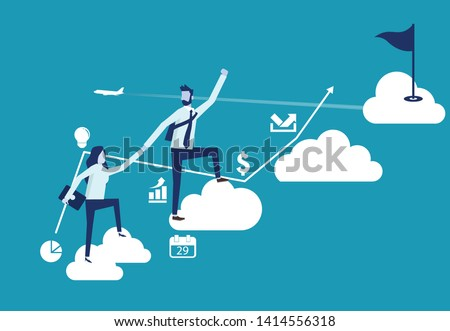 A man and woman are climbing up on the cloud for achieving the top destination in business with business icons in the sky -business team climb up together to achieve the goal