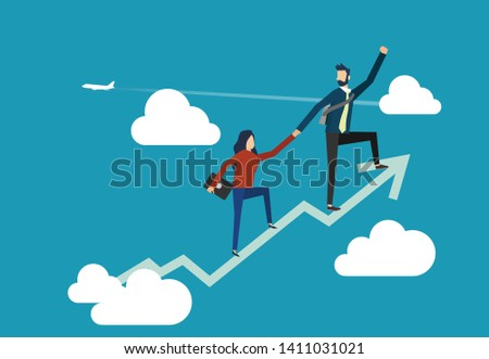 A man and woman are climbing up on the soaring financial graph for achieving the top destination in business -business team climb up together to achieve the goal