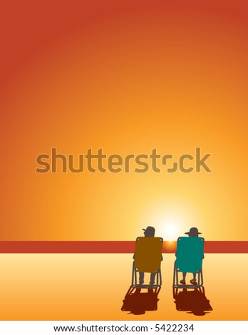 A man and woman relax in beach chairs by the ocean water at sunset with space for text