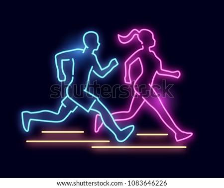 A man and women running - Neon light sign. vector illustration