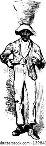 A man balancing basket on his head, vintage line drawing or engraving illustration