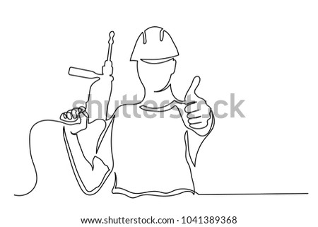 A man builder in a helmet and a drill shows a thumbs-up. One line drawing isolated vector object by hand on a white background