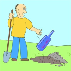 A man buries alcohol. He wants to get rid of alcohol addiction