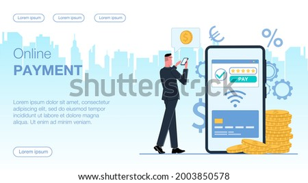 a man businessman holds a mobile phone and conducts a payment transaction online on a smartphone from a credit card via wi-fi around currency icons near coins money gold vector flat illustration Photo stock ©