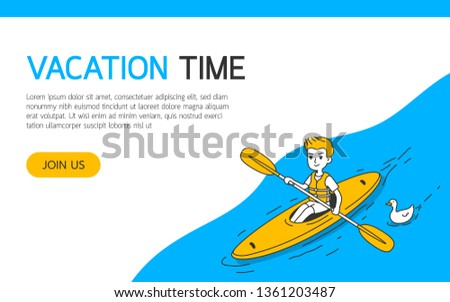 A man canoes in the river, simple and clean doodle vector illustration