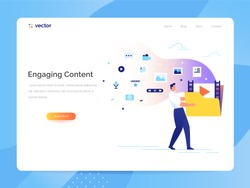 A man carries a large folder with media files. Engaging content concept. Communication with subscribers vector illustration.