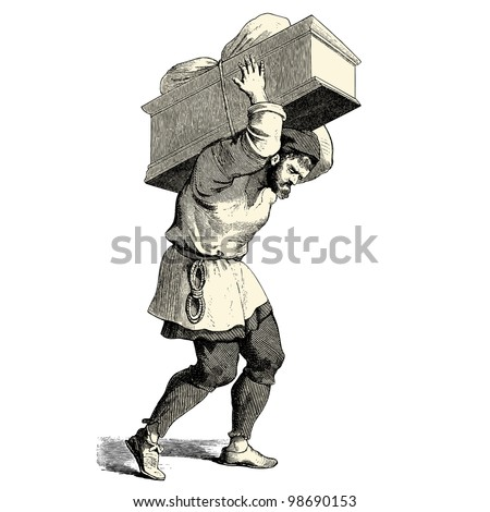 A man carrying a heavy box - vintage engraved illustration -
