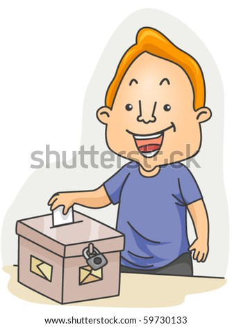 A Man Casting his Vote - Vector - stock vector