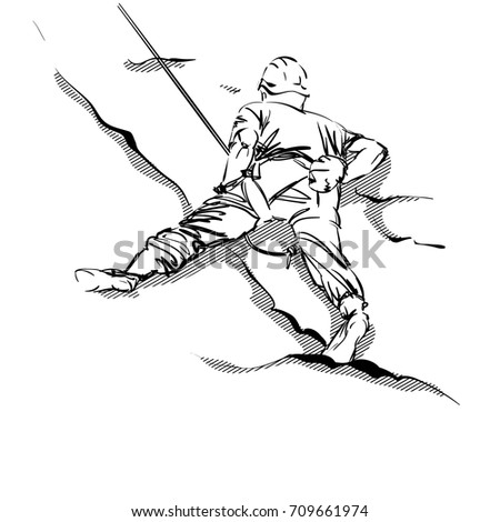 A Man Climber on a Rock. An Alpinist with Equipment. A Mountaineer Boy. Vector Illustration. Freehand Monochrome Drawing. Extreme Sport. Realistic Style Sketch. Young Athlete. Active Lifestyle.