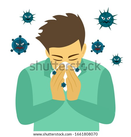 A man cover his sneeze with handkerchief vector illustration on white background. Sneezing man in green shirt with virus around. Covid-19 corona virus disease. Season allergy.