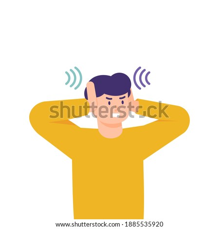 a man covers his ears with his hands to avoid disturbance of sound. illustration of the expression of a person who feels uncomfortable or disturbed. flat style. vector design elements