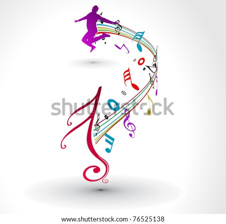 A man dance with musical notes background.