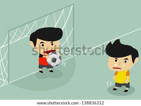 a man do not kick the ball into