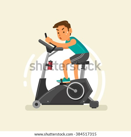 a man exercising on stationary bike