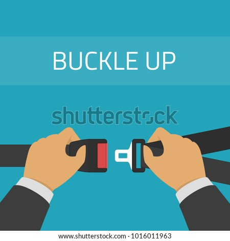 A man fasten buckle of safety belts hands. Illustration of Seat Belt for protection. Hands locking seat belt. The safety equipment for car or plane. Flat style. Vector EPS 10.