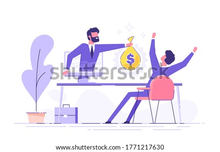 A man from a monitor holds out a bag of money to a happy man. Concept of earnings on the Internet, online income, gambling. Modern vector illustration.